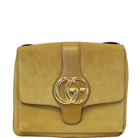 GUCCI Arli Medium Suede Leather Shoulder Crossbody Bag Mustard Yellow