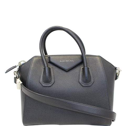 GIVENCHY Antigona Small Goatskin Leather Shoulder Bag Black