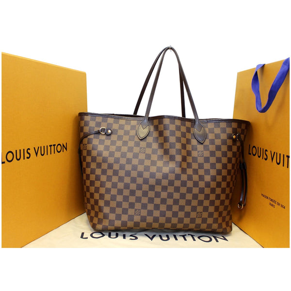 Louis Vuitton Neverfull GM Damier Tote Shoulder Bag - front view
