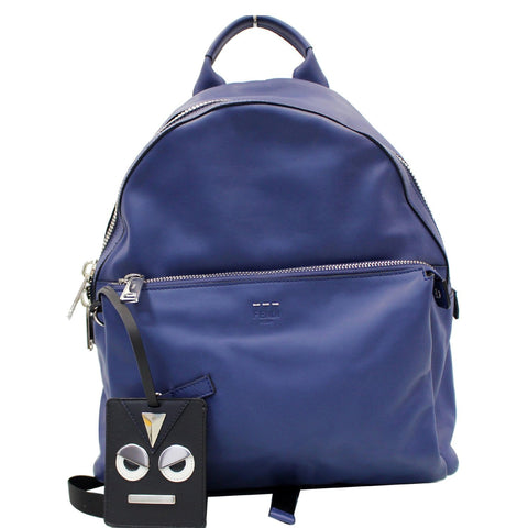 FENDI Are You Serious Backpack Bag with Face Charm Blue