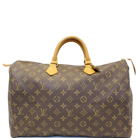 LOUIS VUITTON Speedy 40 Monogram Canvas Satchel Handbag Brown