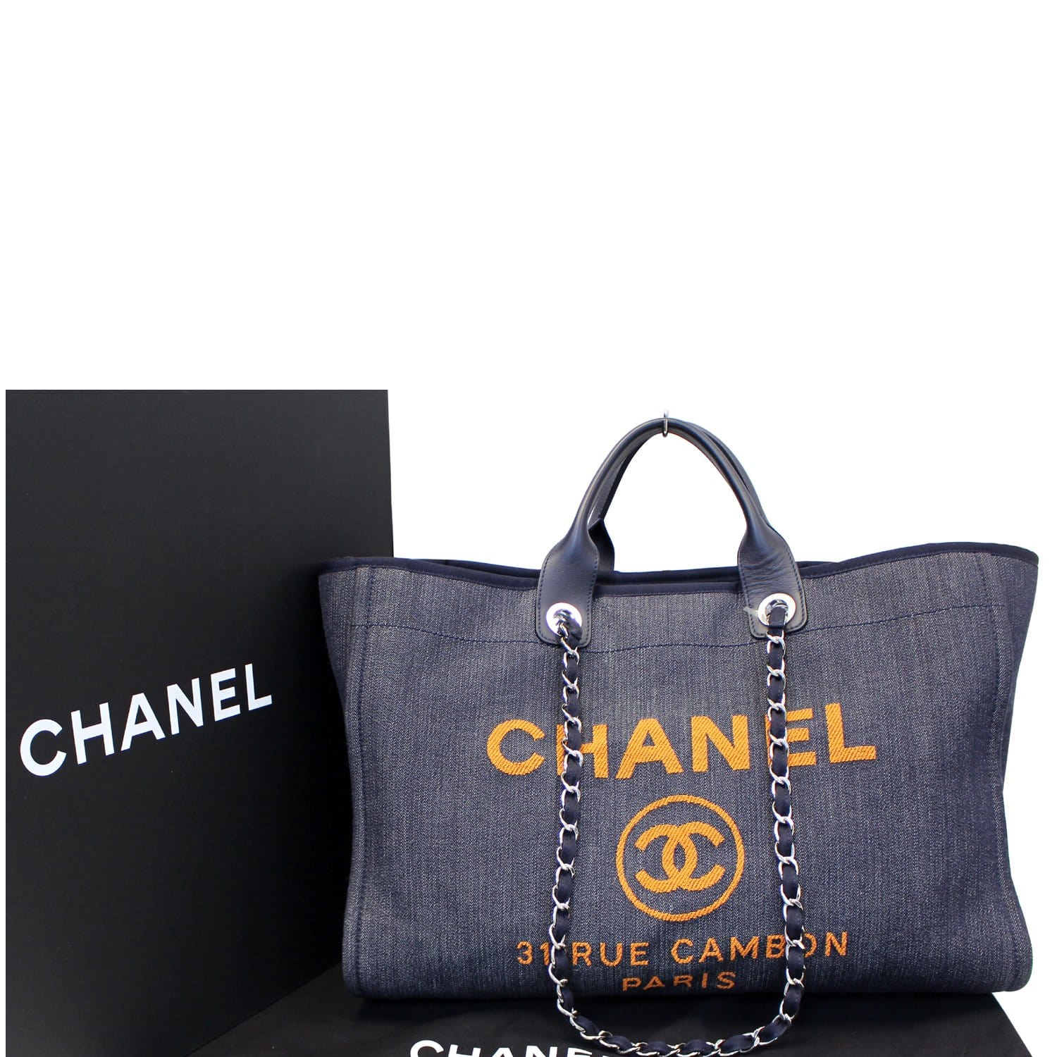3d68643d4394 CHANEL Deauville Large Denim Shopping Tote Bag Dark Blue