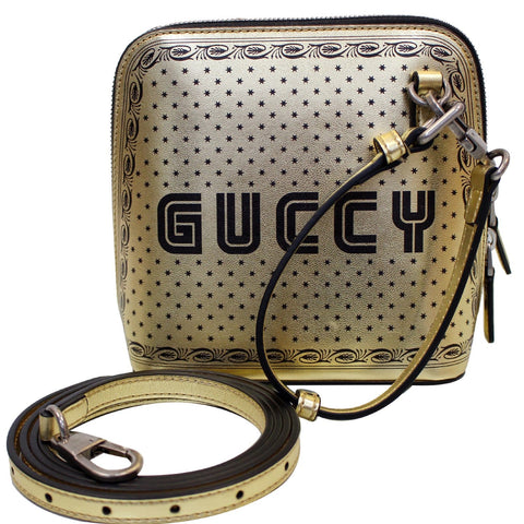 GUCCI Moon Steller Guccy Leather Crossbody Bag Gold