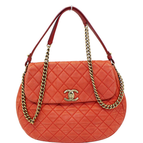 CHANEL Red Flap Soft Caviar Leather Shoulder Crossbody Bag - 15% OFF