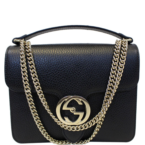 GUCCI Interlocking GG Leather Crossbody Bag Black 510304 - Daily Deal