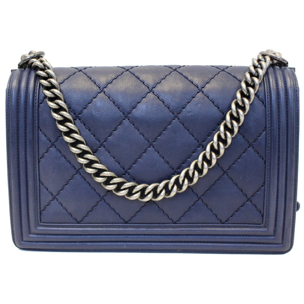 Chanel New Medium Boy Flap Calfskin Double Stitch Bag Navy with chain