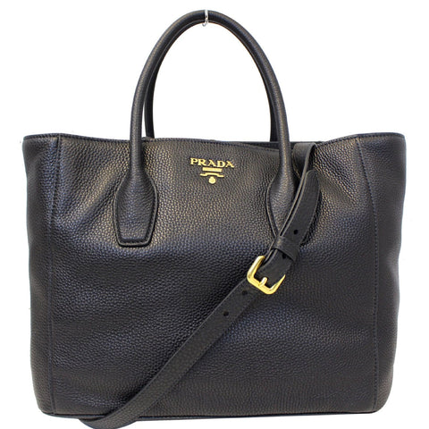 PRADA Vitello Daino Leather Shopping Tote Bag Black