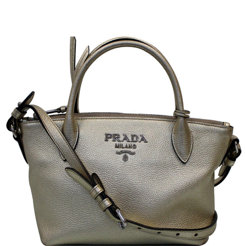 PRADA Small Daino Metallic Leather Tote Shoulder Bag Silver