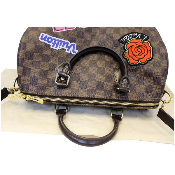 Top View Lv Speedy 30 Patches Damier Ebene Bag