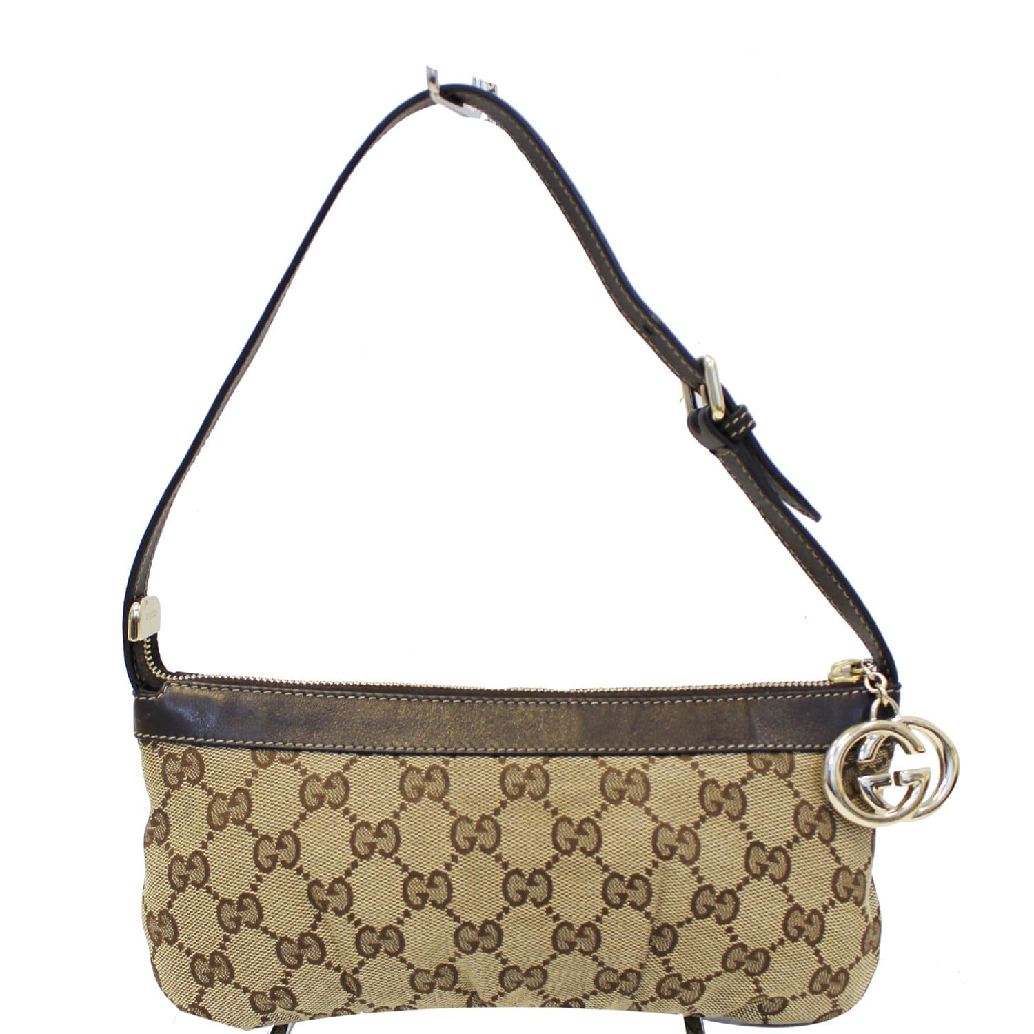 cf23e8bb GUCCI Interlocking G Pochette GG Canvas Shoulder Bag Beige
