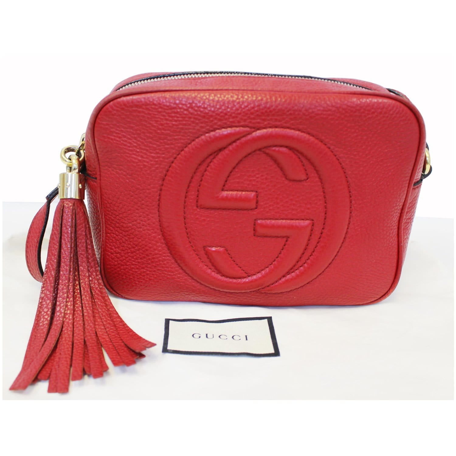 786c9cf0cae6 GUCCI Soho Disco Pebbled Leather Small Crossbody Bag Red-US