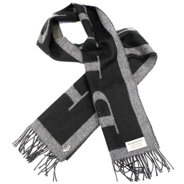Burberry Logo Text Cashmere Scarf  Black/Grey-US