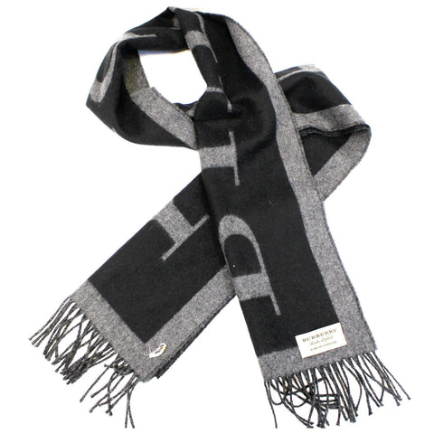 Burberry Logo Text Cashmere Scarf  Black/Grey