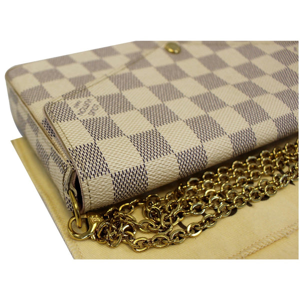 LOUIS VUITTON Pochette Felicie Damier Azur Crossbody Bag White