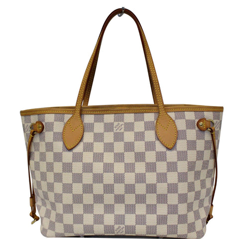 LOUIS VUITTON Neverfull PM Damier Azur Tote Shoulder Bag White