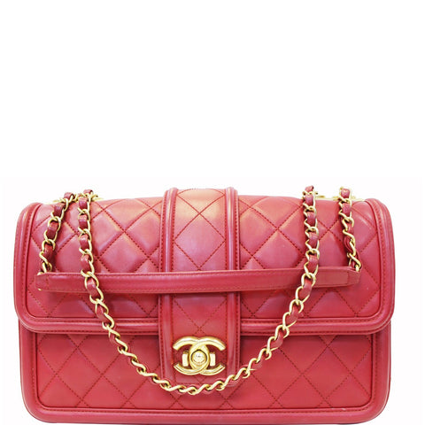 8c35b0be9080 CHANEL Large Elegant CC Flap Calfskin Leather Shoulder Bag Red
