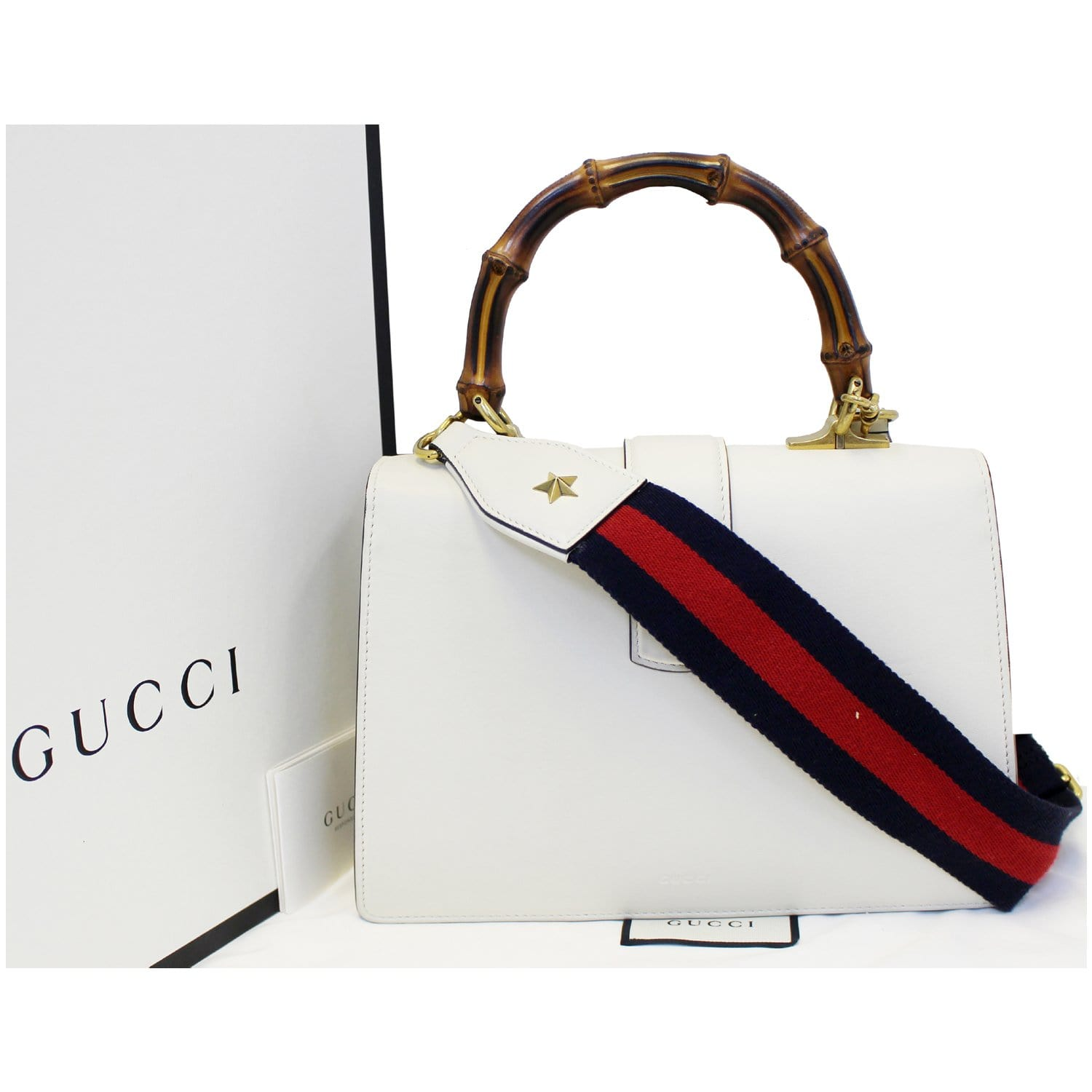 3fd8d117373afe GUCCI Dionysus Leather Medium Top Handle Bag White-US