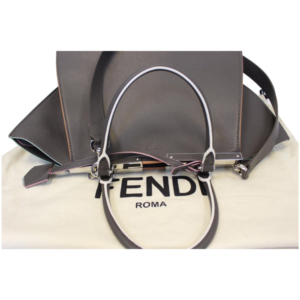 Fendi Petite 3Jours Calfskin Leather Tote Bag Dark Grey full view