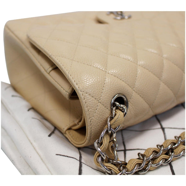 Chanel Jumbo Double Flap Caviar Leather Shoulder Bag Beige corner