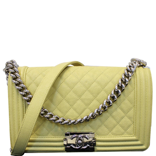 CHANEL Medium Boy Flap Caviar Quilted Leather Shoulder Bag Yellow