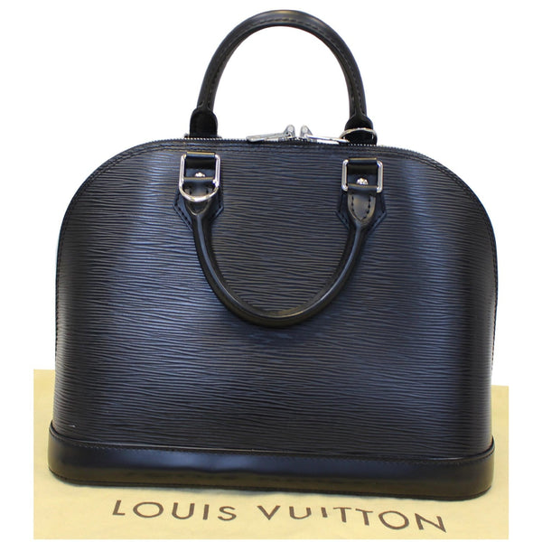 Louis Vuitton Alma Epi Leather Satchel Bag Black- Box
