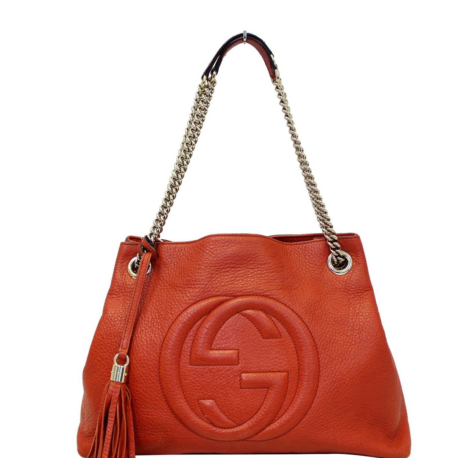 8dd3bfd353e GUCCI Soho Pebbled Leather Chain Shoulder Bag Red 308982-US