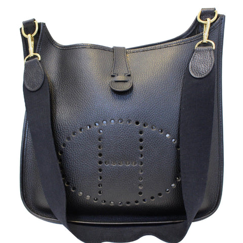 HERMES Evelyne GM Taurillon Clemence Shoulder Bag Black