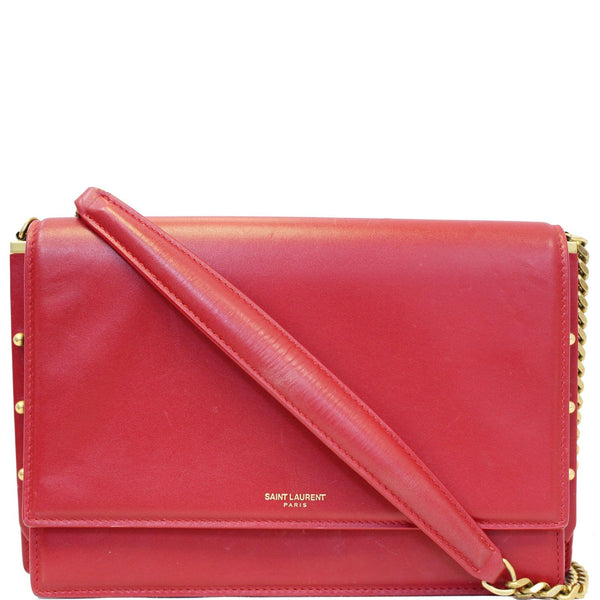 YVES SAINT LAURENT Zoe Lambskin Leather Shoulder Bag Red