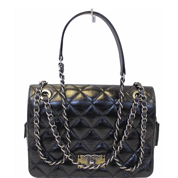 Chanel Flap CC Quilted Leather Crossbody Bag Black