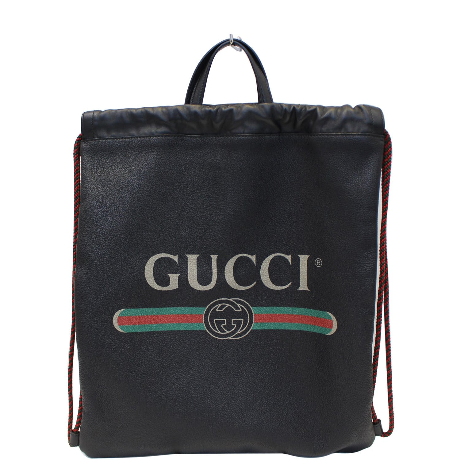 24ac5a27e1 GUCCI Print Leather Drawstring Backpack Bag 494053