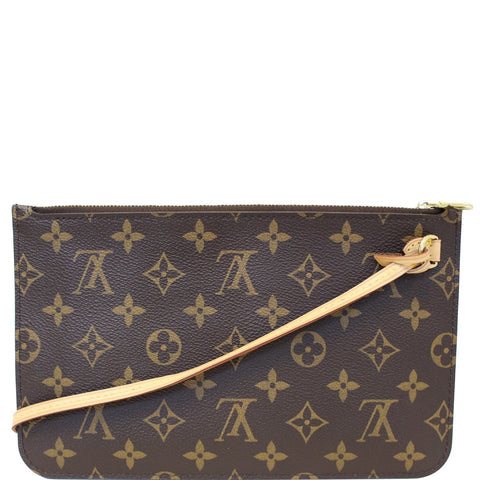 LOUIS VUITTON Pochette Wristlet Pouch Monogram Canvas Neverfull MM/GM Brown
