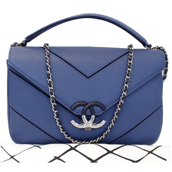 CHANEL CC Chevron Flap Shoulder Crossbody Bag Blue-US