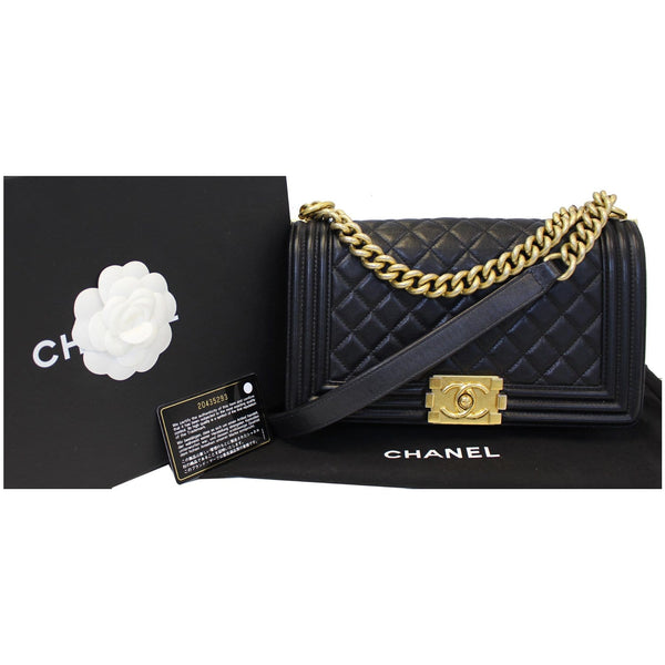 Chanel Le Boy Medium Flap Bag Caviar Leather Black front view
