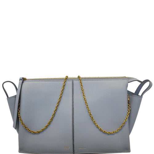 Celine Trifold Smooth Leather Chain Crossbody Clutch Bag Blue