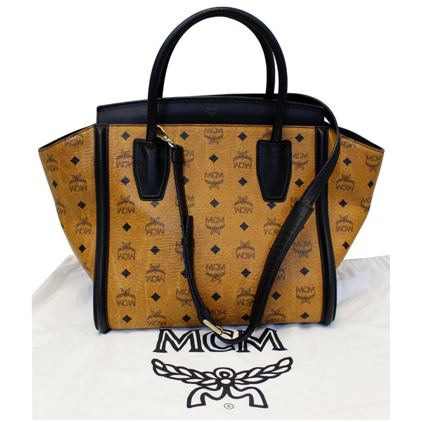 MCM Vintage Visetos Small Cognac Tote Bag Black - front view