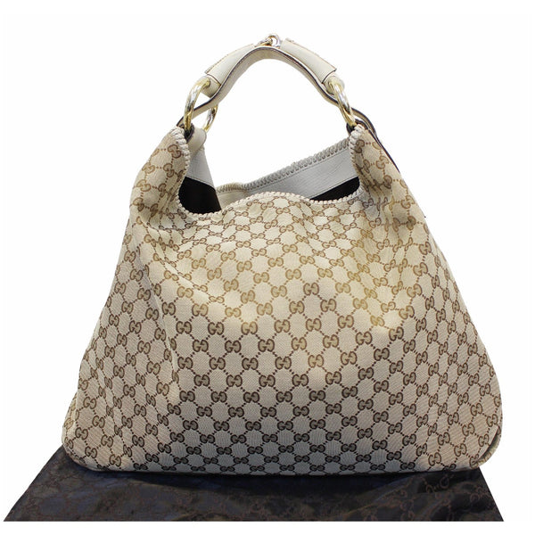GUCCI Horsebit GG Canvas Large Hobo Bag Beige/White 114900