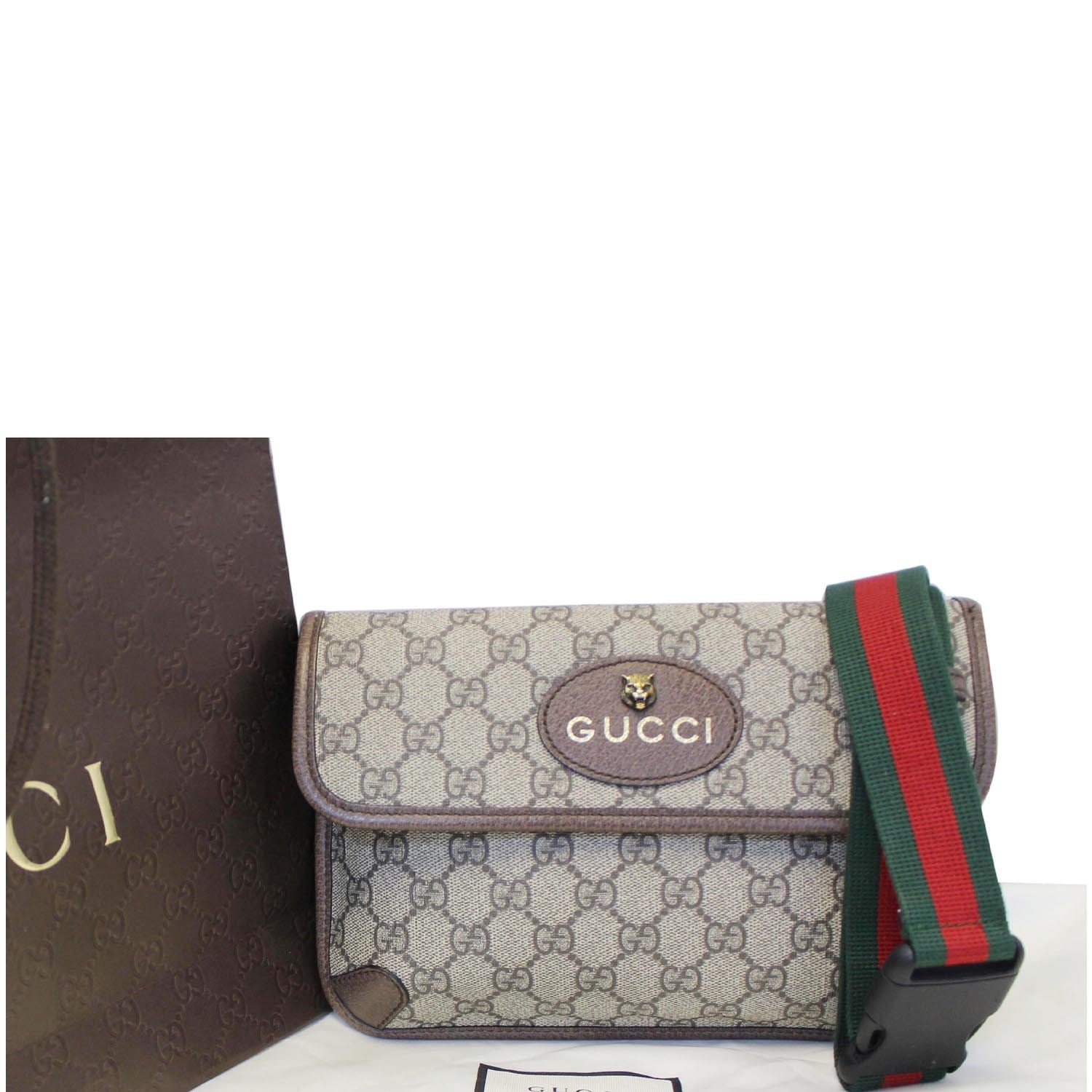 f2e7f34e GUCCI GG Supreme Canvas Belt Waist Bag Brown/Beige 493930