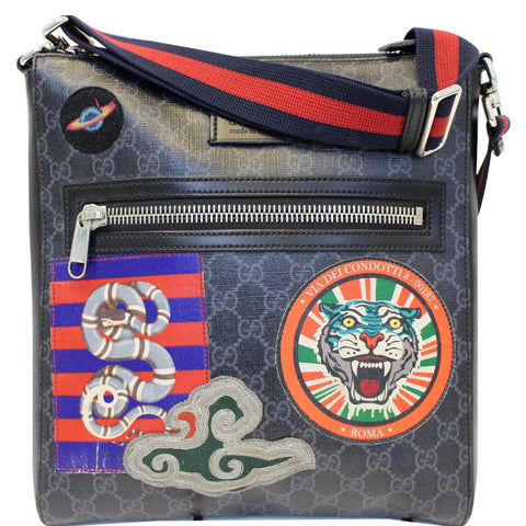 GUCCI Night Courrier GG Supreme Messenger Crossbody Bag Black/Grey