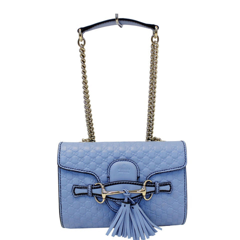 GUCCI Emily Mini Micro GG Guccissima Leather Shoulder Bag Light Blue