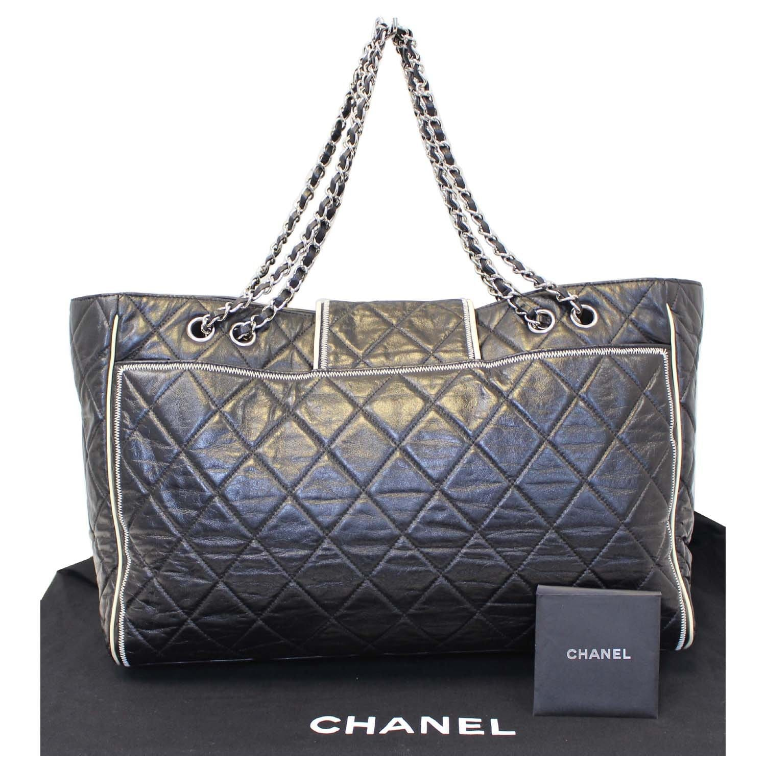 2e0f17347625 CHANEL East West Large Lambskin Quilted Leather Tote Shoulder Bag Black-US