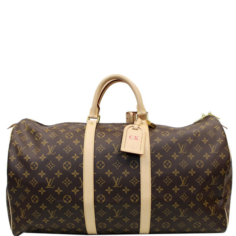 LOUIS VUITTON Keepall 55 Monogram Canvas Bostan Bag Brown