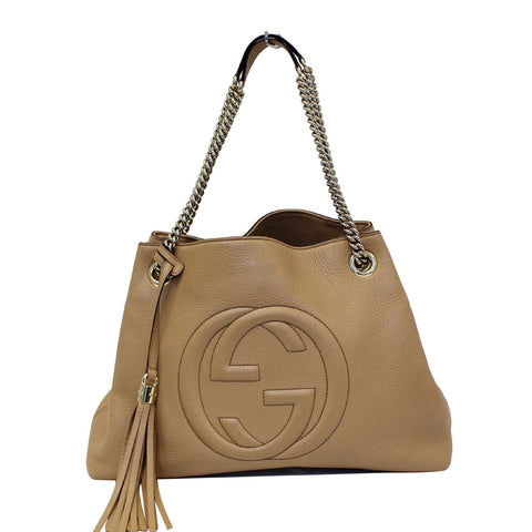 GUCCI Soho Pebbled Leather Chain Shoulder Bag 308982 Beige