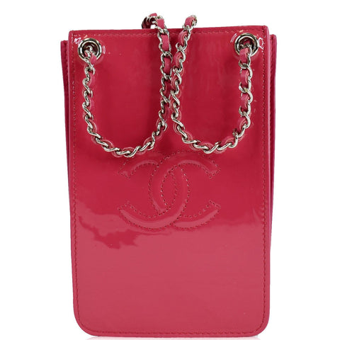 CHANEL O-Phone Holder Patent Leather Crossbody Bag Red