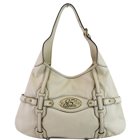GUCCI 85th Anniversary Horsebit Leather Hobo Bag White 163804