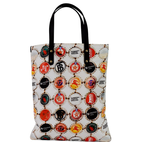 BURBERRY Flat Printed Large Nylon Tote Bag White Multi