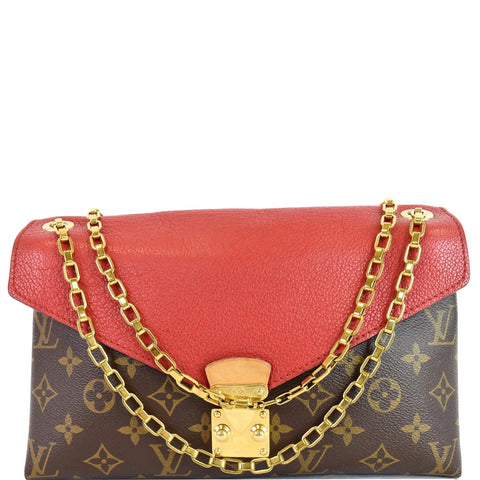 LOUIS VUITTON Pallas Chain Monogram Canvas Crossbody Bag Brown