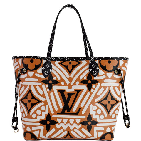 LOUIS VUITTON Neverfull Crafty MM Monogram Gaint Canvas Tote Bag Caramel
