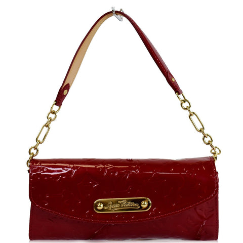 LOUIS VUITTON Sunset Boulevard Monogram Vernis Shoulder Bag Red