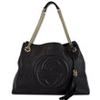 GUCCI Soho Pebbled Leather Chain Shoulder Bag 308982 Black