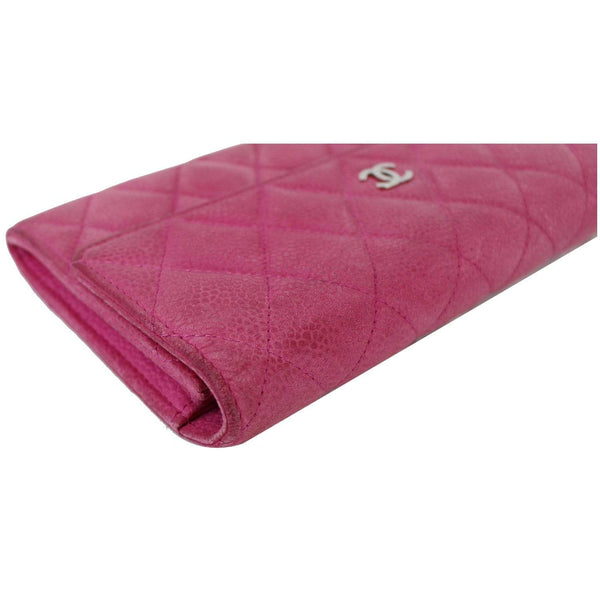 Chanel CC Caviar Leather Long Wallet Pink | corner view